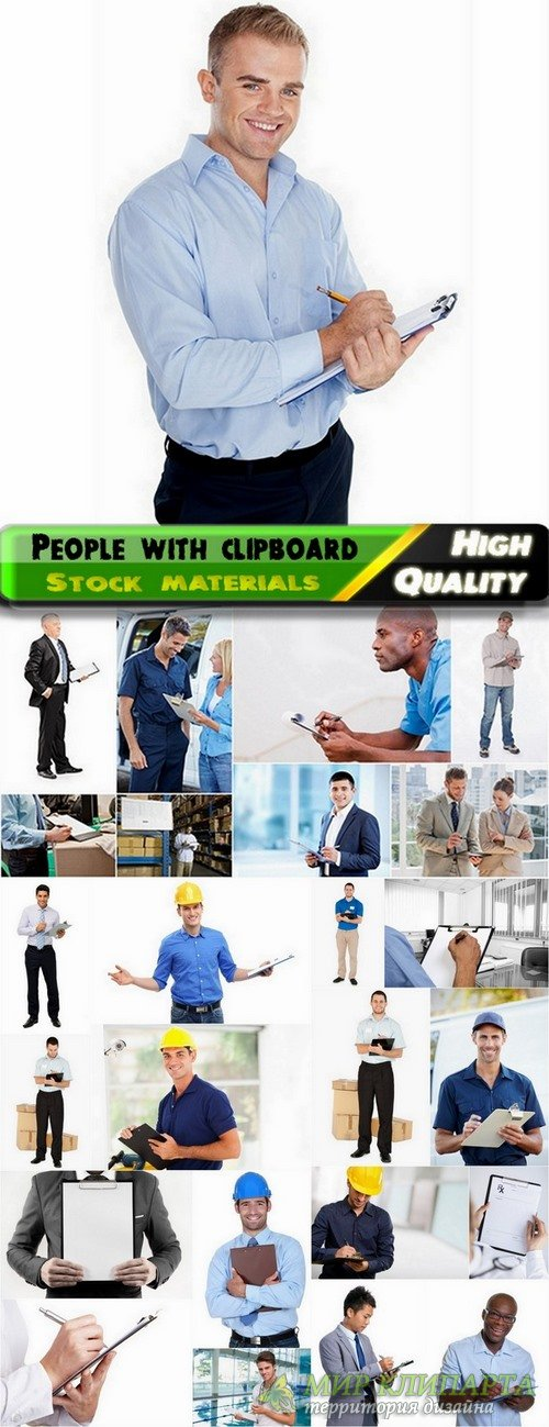 People of different profession and business man with clipboard - 25 HQ Jpg