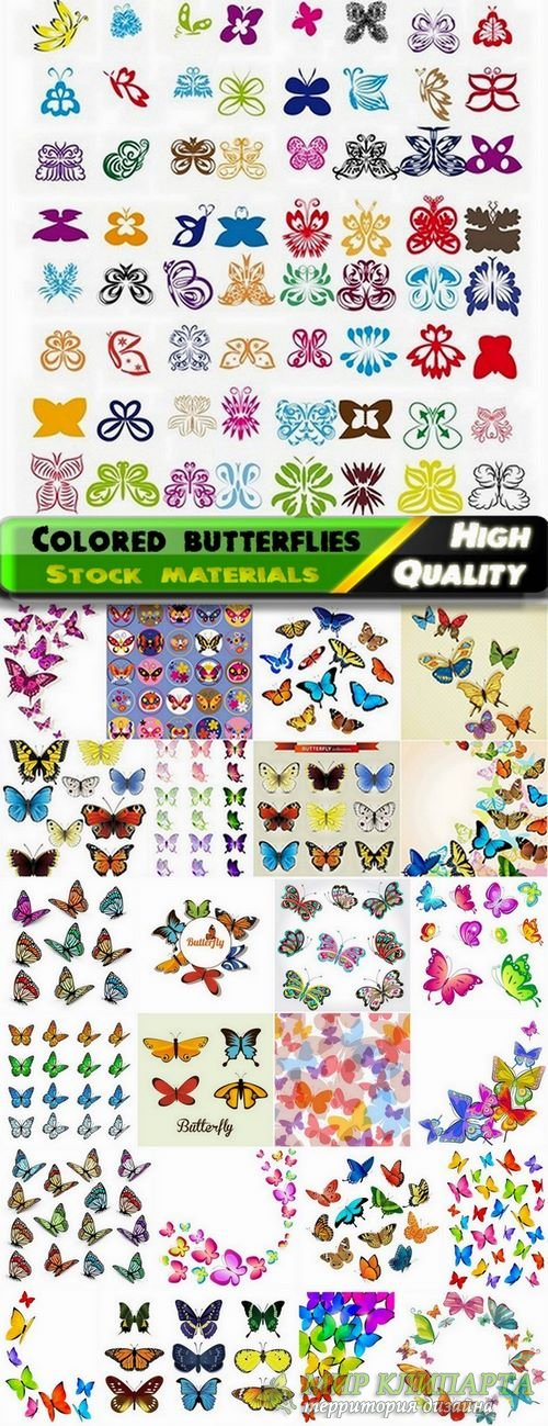Set of colored butterfly vector illustrations from stock - 25 Eps