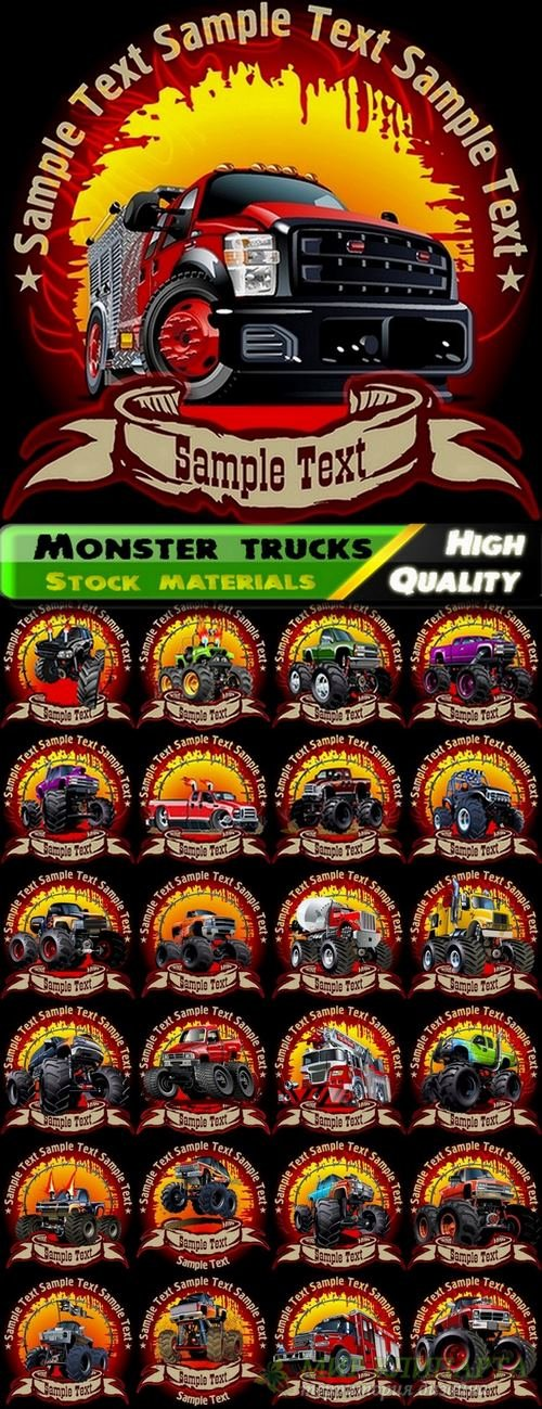 Illustrations of monster trucks in vector from stock - 25 Eps