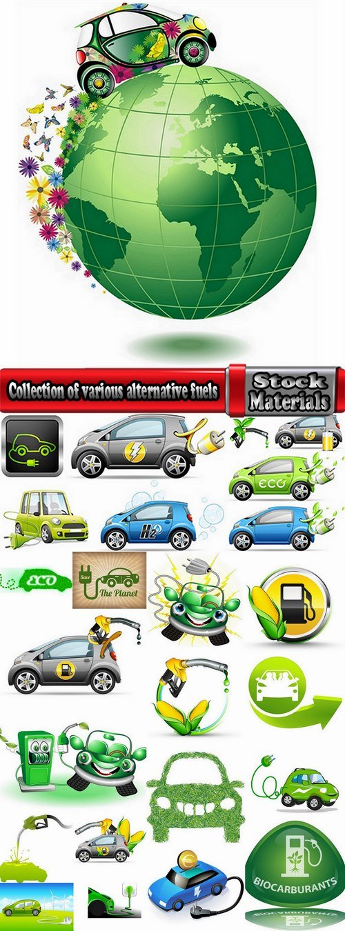 Collection of various alternative fuels 25 Eps