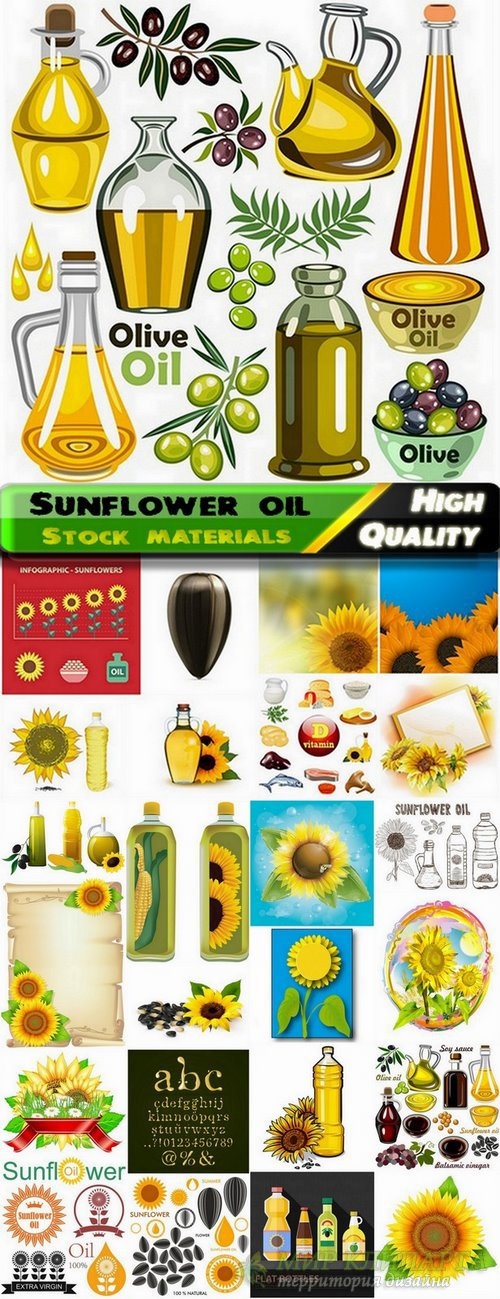 Sunflower oil and seeds of sunflowers - 25 Eps